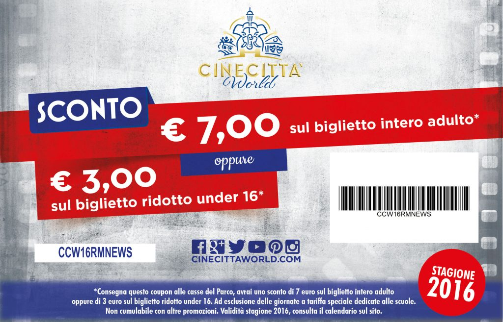 Su romanews.it coupon con sconto di 7 euro per entrare a Cinecittàworld !